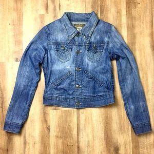 True Religion RARE Distressed Denim Jacket XS